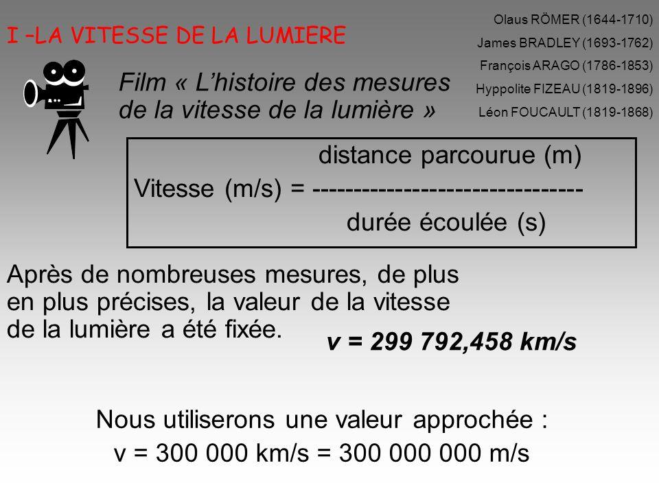 I –LA VITESSE DE LA LUMIERE distance parcourue (m) Vitesse (m/s) = -------------------------------- durée écoulée (s) v = 299 792,458 km/s Nous utilis