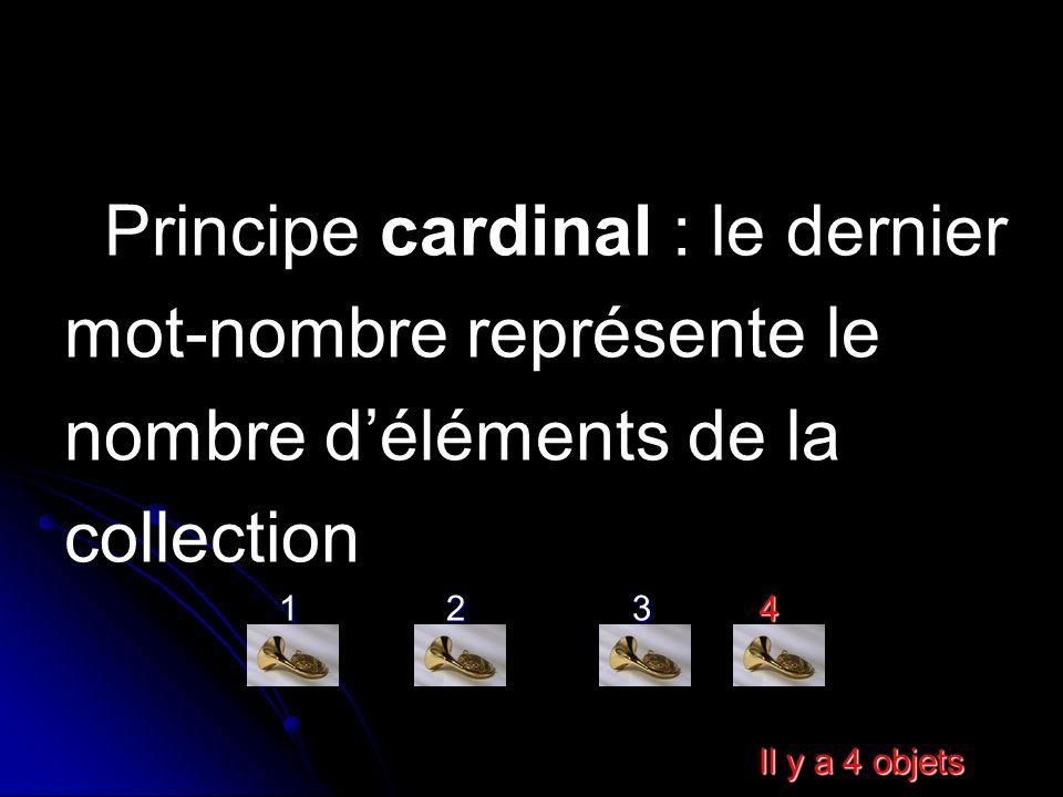 Principe cardinal : le dernier mot-nombre représente le nombre déléments de la collection 1 2 3 4 1 2 3 4 Il y a 4 objets Il y a 4 objets
