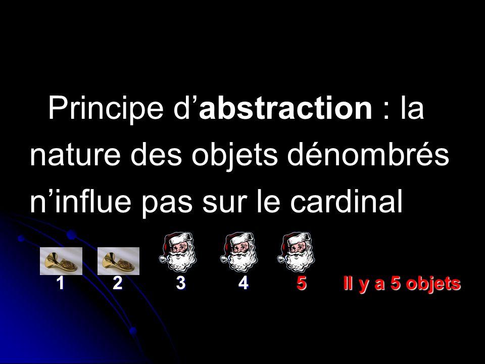 Principe de non pertinence de lordre : lordre de comptage des objets ninflue pas sur le cardinal de lensemble.