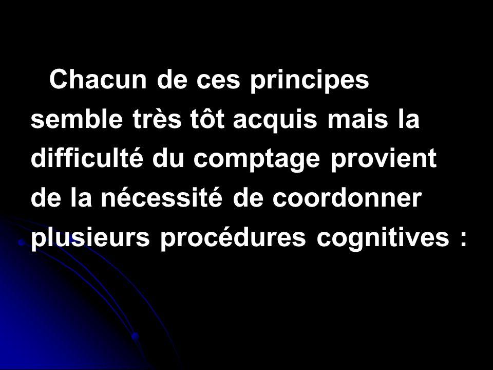 Chacun de ces principes semble très tôt acquis mais la difficulté du comptage provient de la nécessité de coordonner plusieurs procédures cognitives :