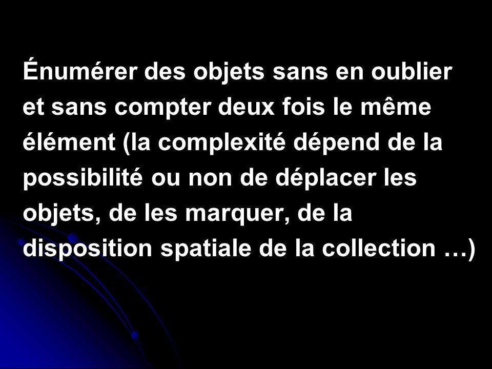 Énumérer des objets sans en oublier et sans compter deux fois le même élément (la complexité dépend de la possibilité ou non de déplacer les objets, d