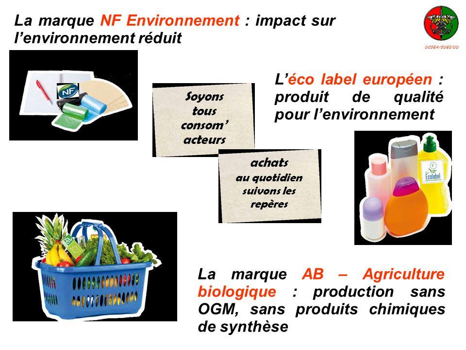 Léco label européen : produit de qualité pour lenvironnement La marque AB – Agriculture biologique : production sans OGM, sans produits chimiques de s