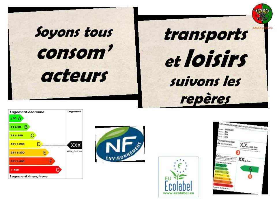 Soyons tous consom acteurs transports et loisirs suivons les repères DCSEA/SDE2/DD