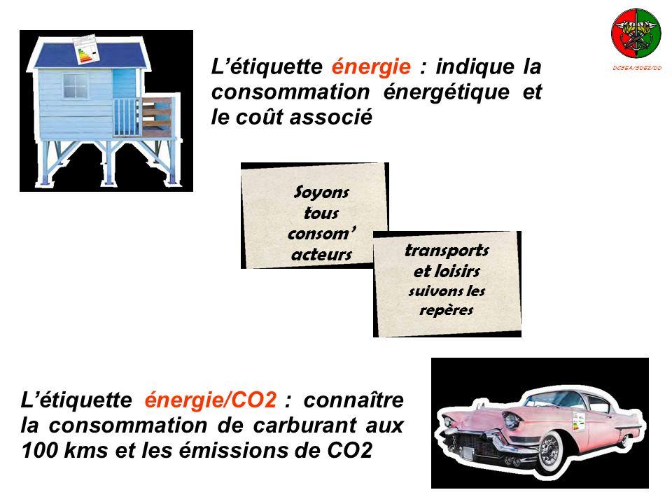 Létiquette énergie/CO2 : connaître la consommation de carburant aux 100 kms et les émissions de CO2 Létiquette énergie : indique la consommation énerg