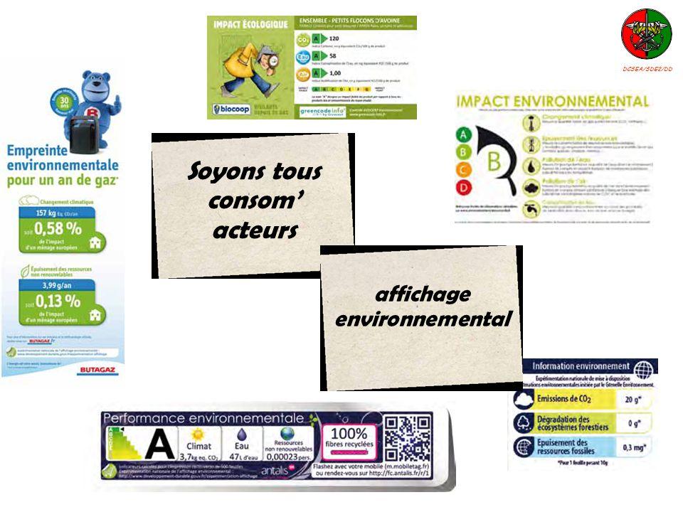 Soyons tous consom acteurs affichage environnemental DCSEA/SDE2/DD