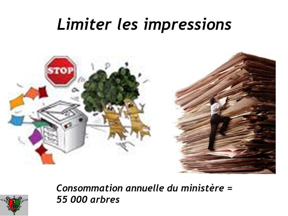 Limiter les impressions Consommation annuelle du ministère = 55 000 arbres