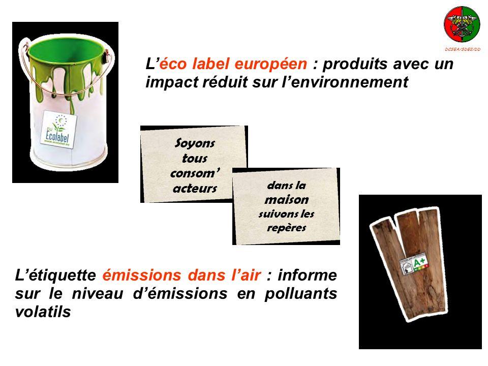 Létiquette émissions dans lair : informe sur le niveau démissions en polluants volatils Léco label européen : produits avec un impact réduit sur lenvi