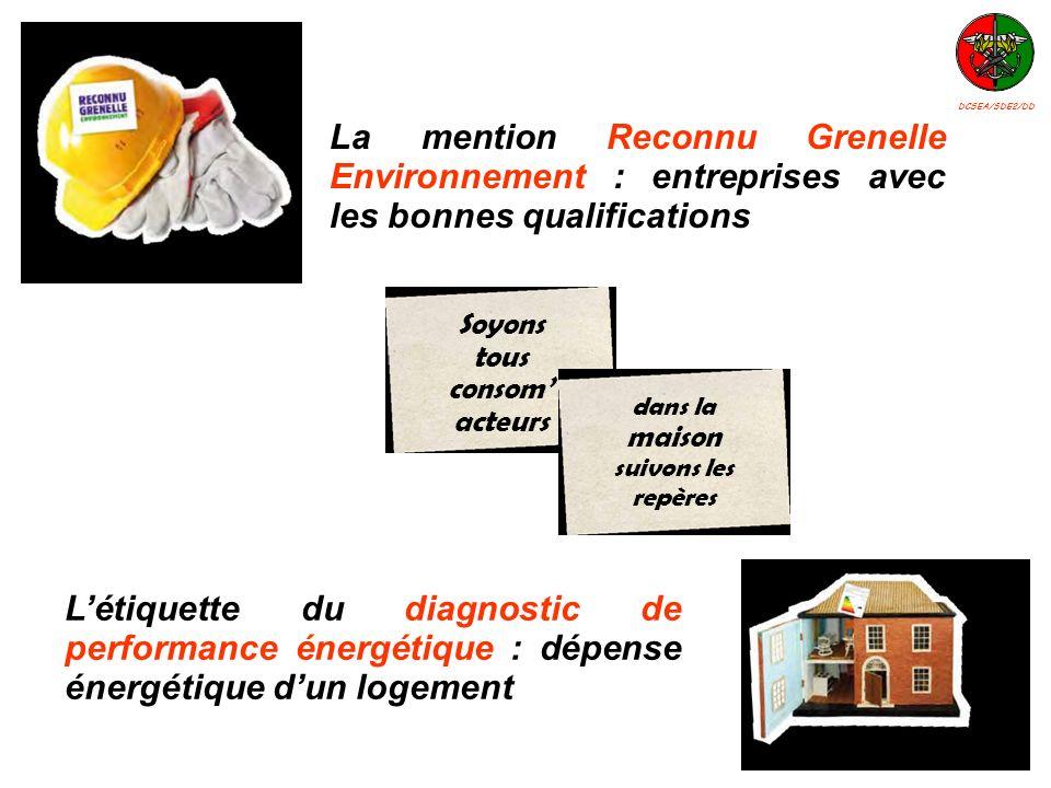 Létiquette du diagnostic de performance énergétique : dépense énergétique dun logement La mention Reconnu Grenelle Environnement : entreprises avec le