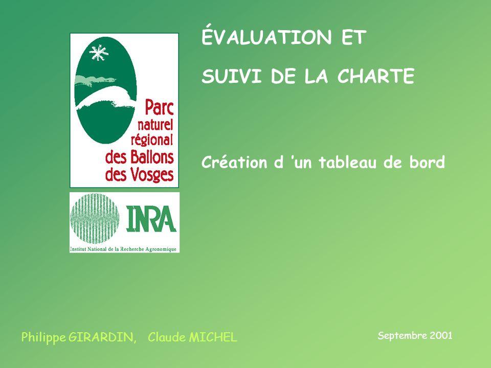 ÉVALUATION ET SUIVI DE LA CHARTE Septembre 2001 Philippe GIRARDIN, Claude MICHEL Création d un tableau de bord