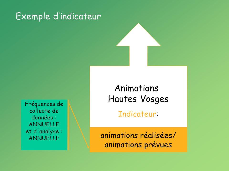 Animations Hautes Vosges Indicateur: animations réalisées/ animations prévues Fréquences de collecte de données : ANNUELLE et d analyse : ANNUELLE Exemple dindicateur