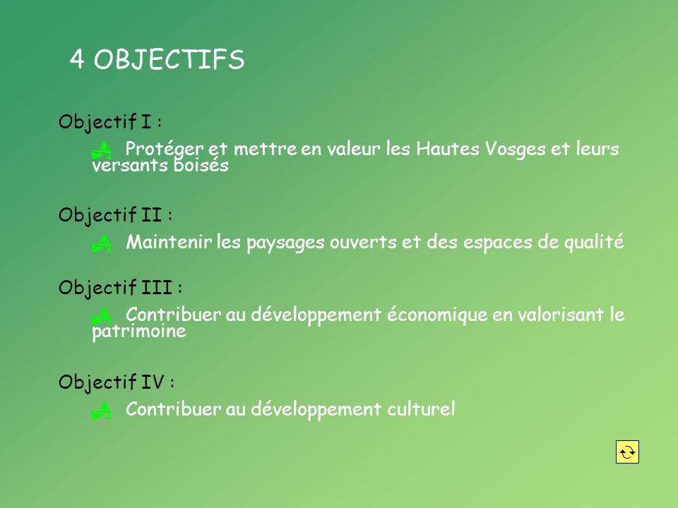 4 OBJECTIFS Objectif I : Protéger et mettre en valeur les Hautes Vosges et leurs versants boisés Objectif II : Maintenir les paysages ouverts et des espaces de qualité Objectif III : Contribuer au développement économique en valorisant le patrimoine Objectif IV : Contribuer au développement culturel
