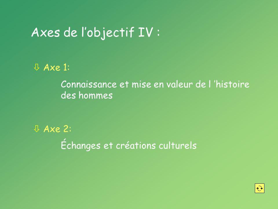 Axes de lobjectif IV : ò Axe 1: Connaissance et mise en valeur de l histoire des hommes ò Axe 2: Échanges et créations culturels
