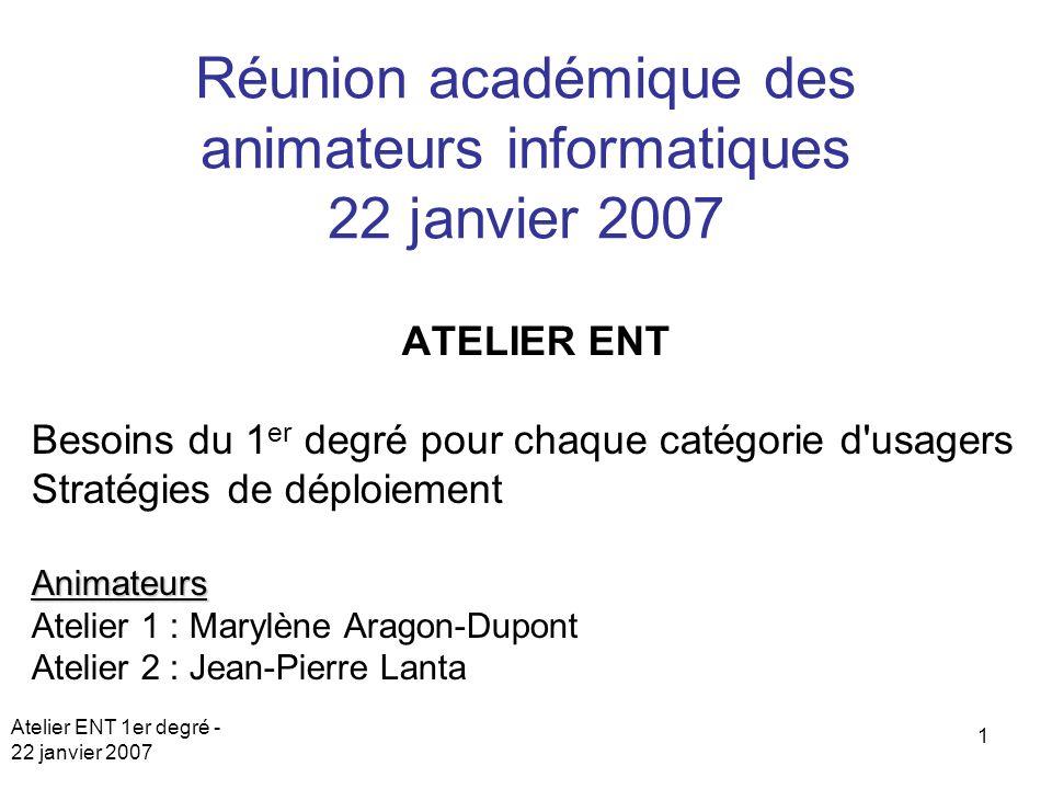 Atelier ENT 1er degré - 22 janvier 2007 1 Réunion académique des animateurs informatiques 22 janvier 2007 ATELIER ENT Besoins du 1 er degré pour chaqu