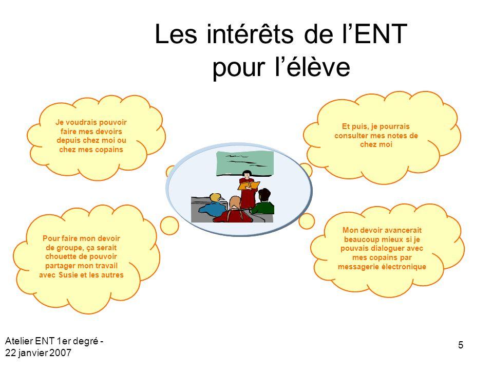 Atelier ENT 1er degré - 22 janvier 2007 5 Je voudrais pouvoir faire mes devoirs depuis chez moi ou chez mes copains Pour faire mon devoir de groupe, ç