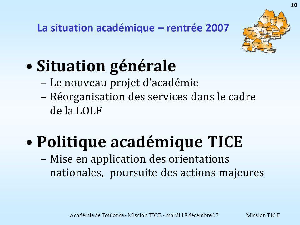 Mission TICE La situation académique – rentrée 2007 Situation générale –Le nouveau projet dacadémie –Réorganisation des services dans le cadre de la L