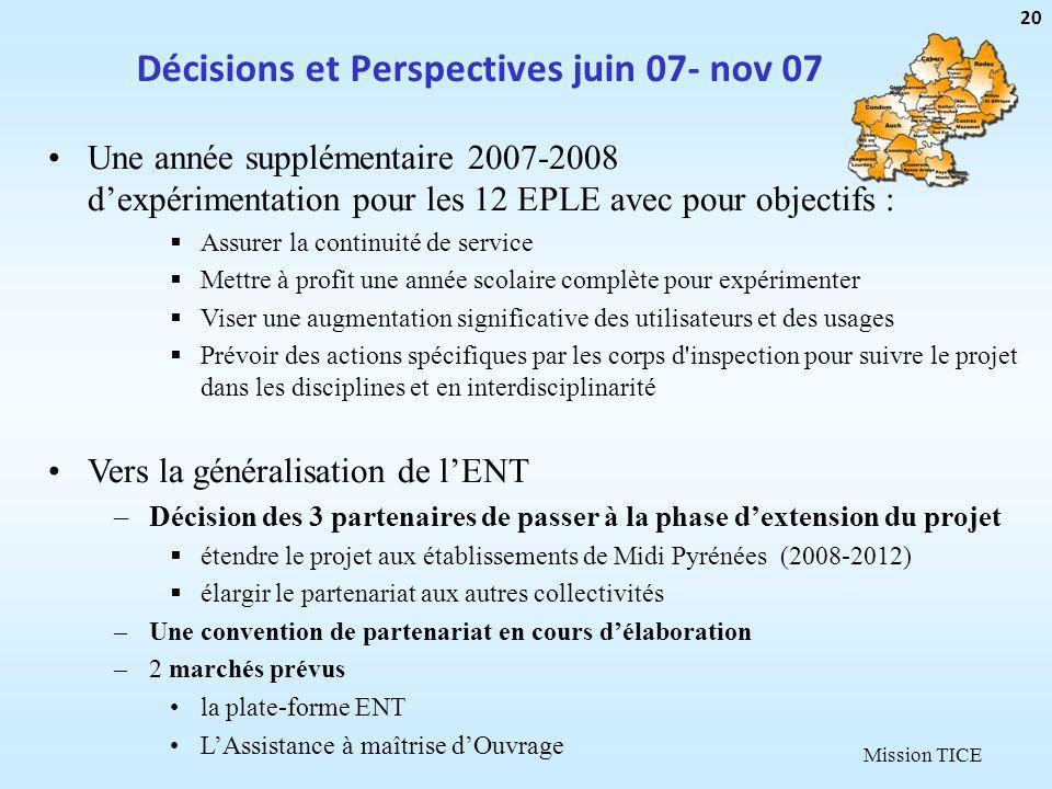 Mission TICE Décisions et Perspectives juin 07- nov 07 20 Une année supplémentaire 2007-2008 dexpérimentation pour les 12 EPLE avec pour objectifs : A