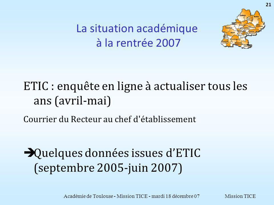 Mission TICE La situation académique à la rentrée 2007 ETIC : enquête en ligne à actualiser tous les ans (avril-mai) Courrier du Recteur au chef d'éta