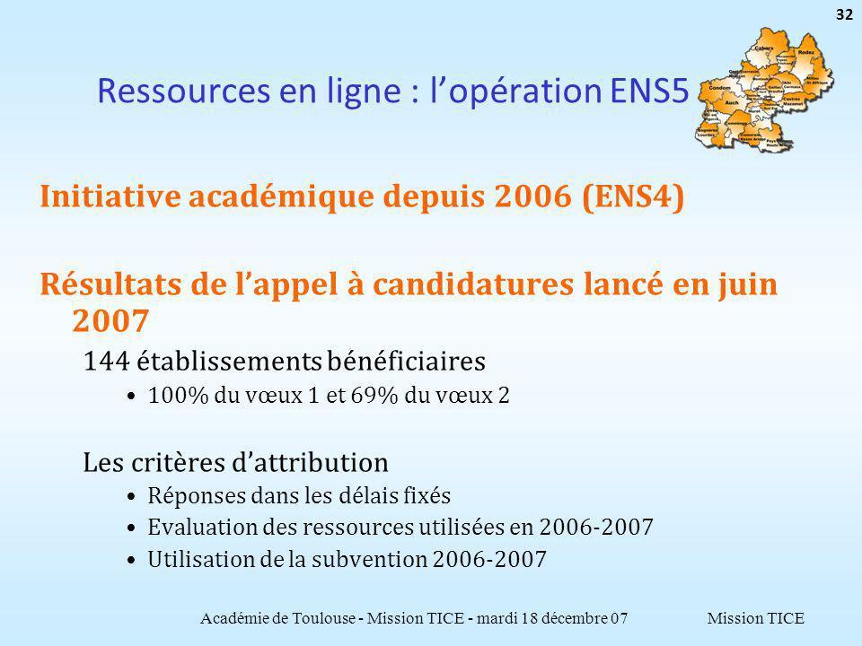 Mission TICE Ressources en ligne : lopération ENS5 Initiative académique depuis 2006 (ENS4) Résultats de lappel à candidatures lancé en juin 2007 144