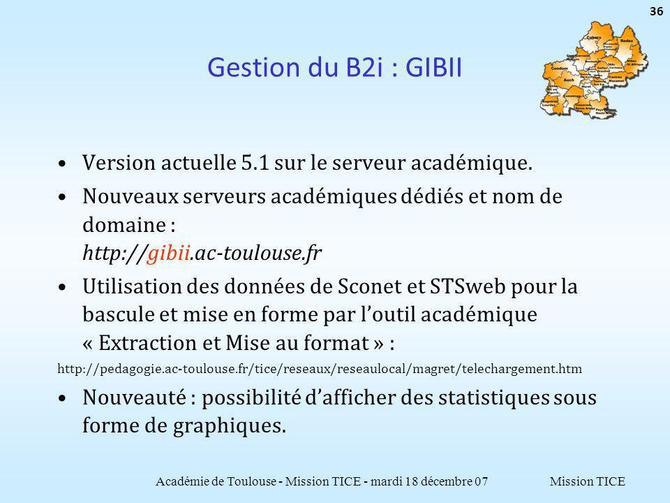 Mission TICE Gestion du B2i : GIBII Version actuelle 5.1 sur le serveur académique. Nouveaux serveurs académiques dédiés et nom de domaine : http://gi