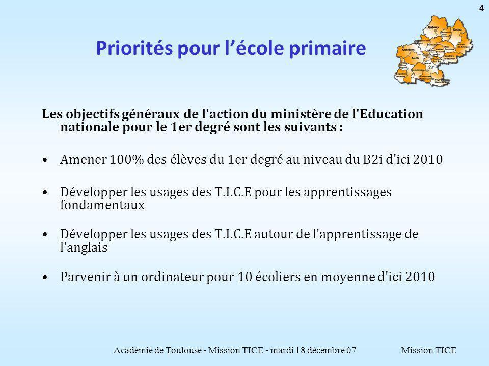 Mission TICE Priorités pour lécole primaire Les objectifs généraux de l'action du ministère de l'Education nationale pour le 1er degré sont les suivan