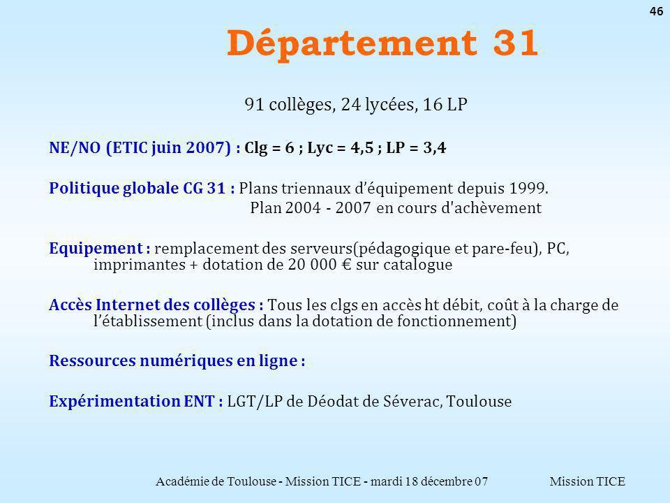 Mission TICE Département 31 Académie de Toulouse - Mission TICE - mardi 18 décembre 07 46 91 collèges, 24 lycées, 16 LP NE/NO (ETIC juin 2007) : Clg = 6 ; Lyc = 4,5 ; LP = 3,4 Politique globale CG 31 : Plans triennaux déquipement depuis 1999.