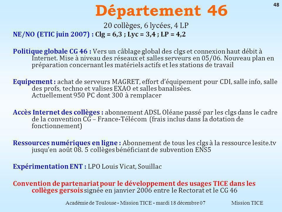 Mission TICE Département 46 Académie de Toulouse - Mission TICE - mardi 18 décembre 07 48 20 collèges, 6 lycées, 4 LP NE/NO (ETIC juin 2007) : Clg = 6