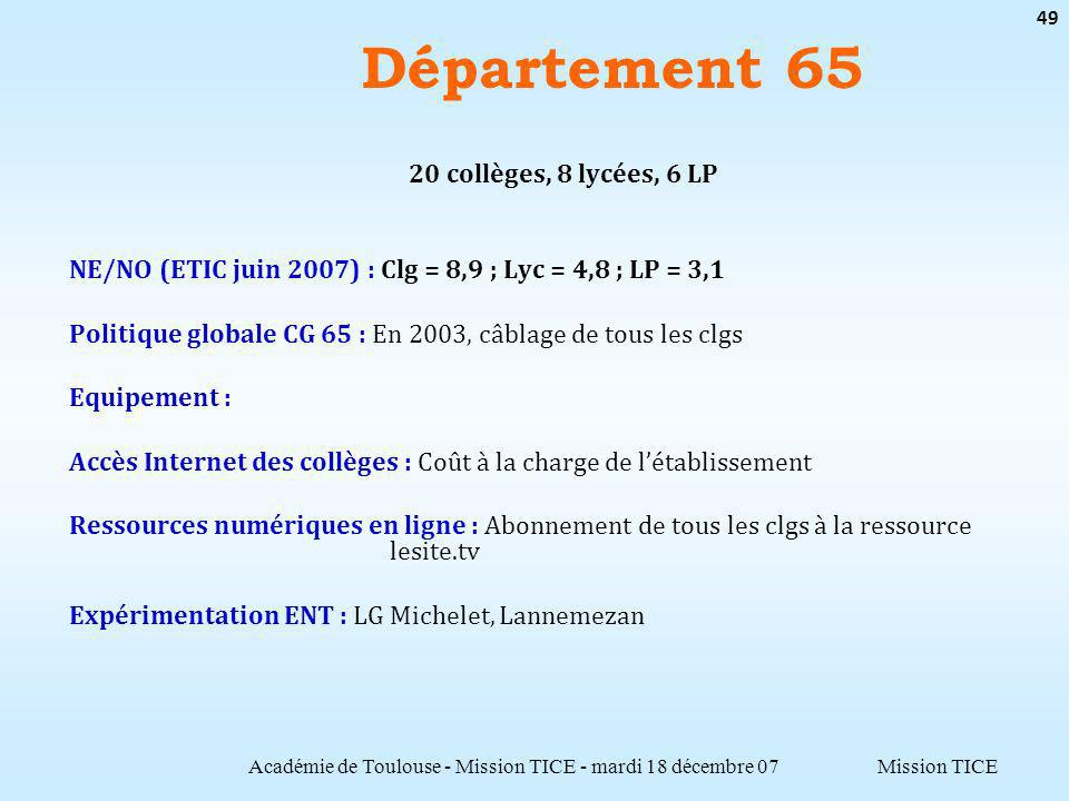 Mission TICE Département 65 Académie de Toulouse - Mission TICE - mardi 18 décembre 07 49 20 collèges, 8 lycées, 6 LP NE/NO (ETIC juin 2007) : Clg = 8,9 ; Lyc = 4,8 ; LP = 3,1 Politique globale CG 65 : En 2003, câblage de tous les clgs Equipement : Accès Internet des collèges : Coût à la charge de létablissement Ressources numériques en ligne : Abonnement de tous les clgs à la ressource lesite.tv Expérimentation ENT : LG Michelet, Lannemezan