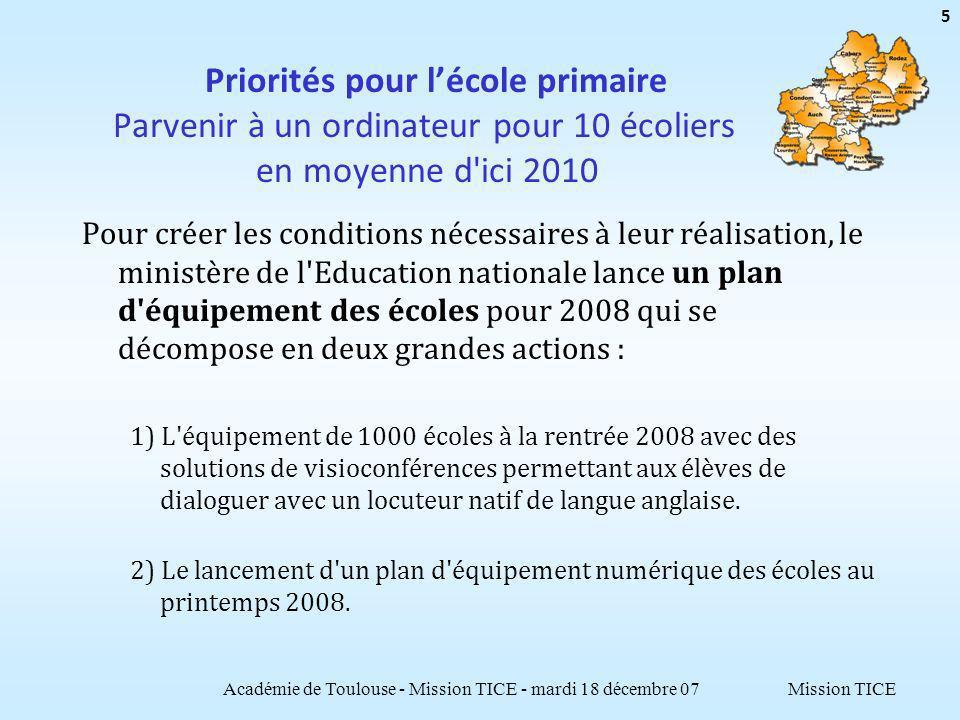 Mission TICE Priorités pour lécole primaire Parvenir à un ordinateur pour 10 écoliers en moyenne d'ici 2010 Pour créer les conditions nécessaires à le