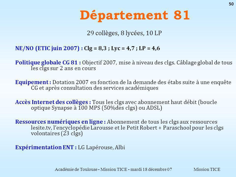Mission TICE Département 81 Académie de Toulouse - Mission TICE - mardi 18 décembre 07 50 29 collèges, 8 lycées, 10 LP NE/NO (ETIC juin 2007) : Clg =