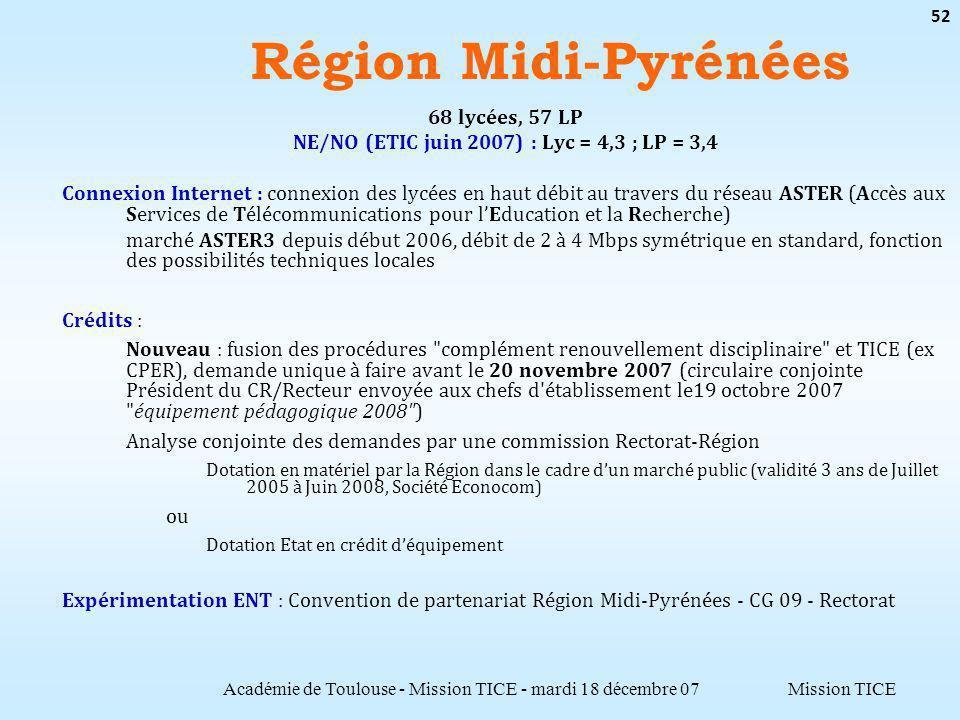 Mission TICE Région Midi-Pyrénées Académie de Toulouse - Mission TICE - mardi 18 décembre 07 52 68 lycées, 57 LP NE/NO (ETIC juin 2007) : Lyc = 4,3 ;