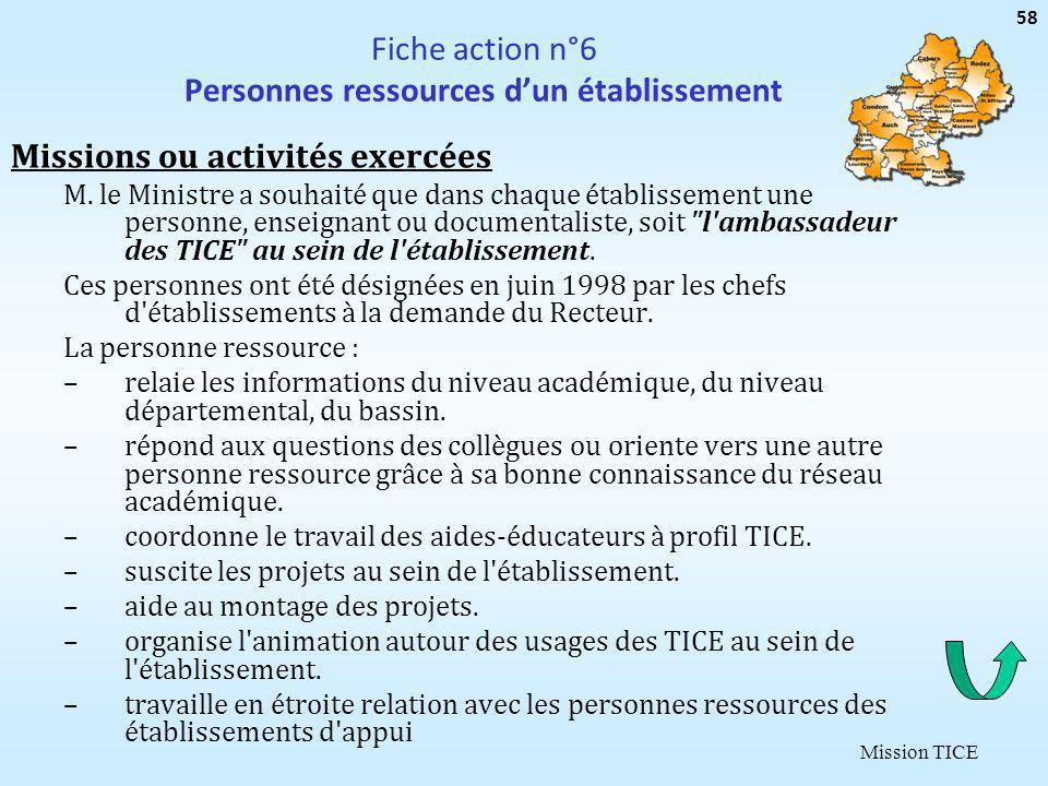 Mission TICE Fiche action n°6 Personnes ressources dun établissement Missions ou activités exercées M. le Ministre a souhaité que dans chaque établiss