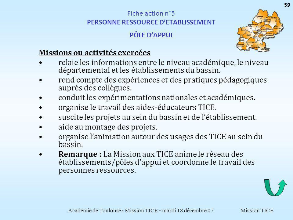 Mission TICE Fiche action n°5 PERSONNE RESSOURCE DETABLISSEMENT PÔLE DAPPUI Missions ou activités exercées relaie les informations entre le niveau académique, le niveau départemental et les établissements du bassin.