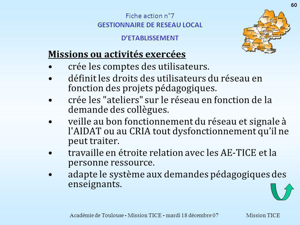 Mission TICE Fiche action n°7 GESTIONNAIRE DE RESEAU LOCAL DETABLISSEMENT Missions ou activités exercées crée les comptes des utilisateurs. définit le