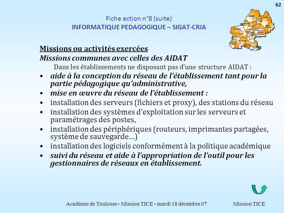 Mission TICE Fiche action n°8 (suite) INFORMATIQUE PEDAGOGIQUE – SIGAT-CRIA Missions ou activités exercées Missions communes avec celles des AIDAT Dan