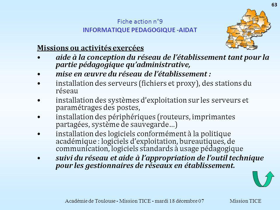 Mission TICE Fiche action n°9 INFORMATIQUE PEDAGOGIQUE -AIDAT Missions ou activités exercées aide à la conception du réseau de létablissement tant pou