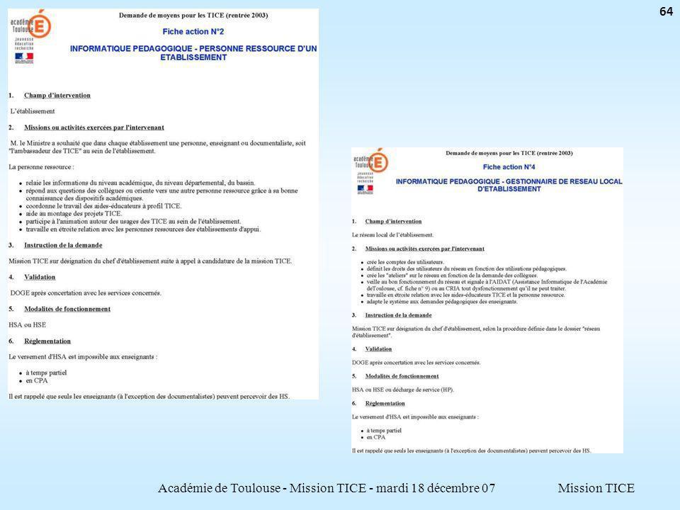 Mission TICEAcadémie de Toulouse - Mission TICE - mardi 18 décembre 07 64