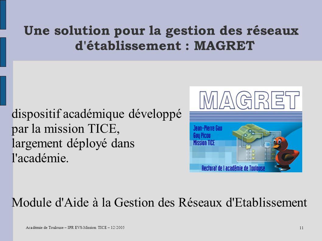 Académie de Toulouse – IPR EVS-Mission TICE – 12/2005 11 Une solution pour la gestion des réseaux d'établissement : MAGRET dispositif académique dével