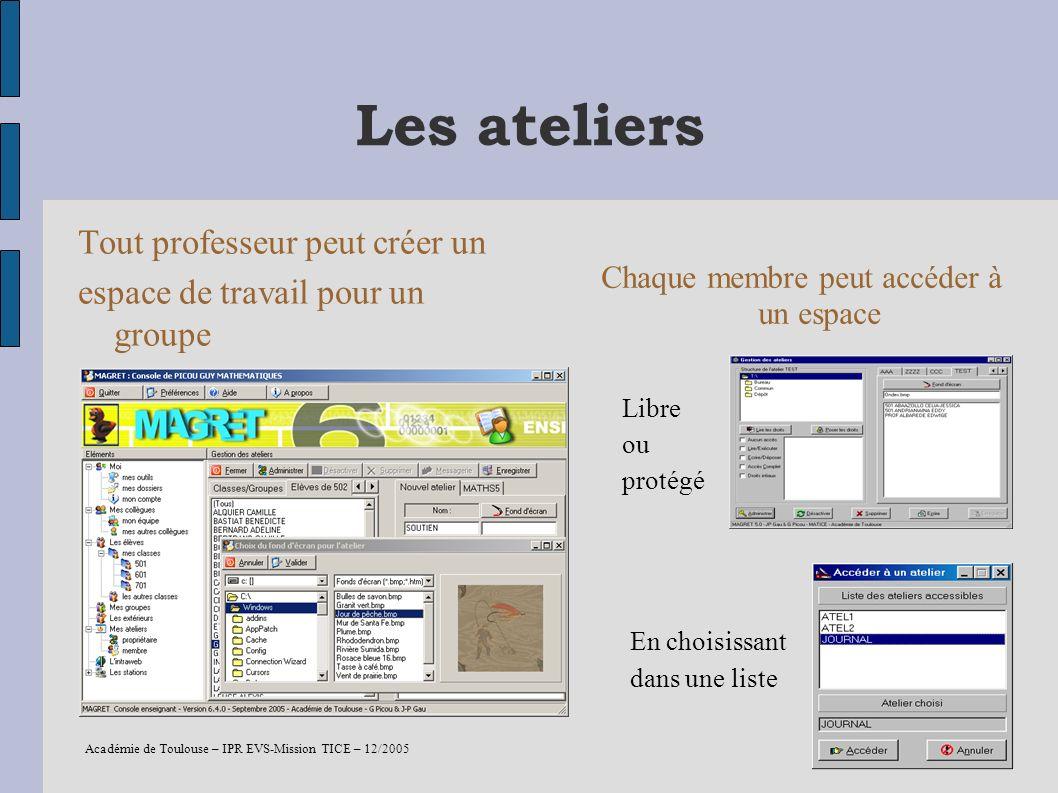 Académie de Toulouse – IPR EVS-Mission TICE – 12/2005 15 Les ateliers Tout professeur peut créer un espace de travail pour un groupe identifié Chaque