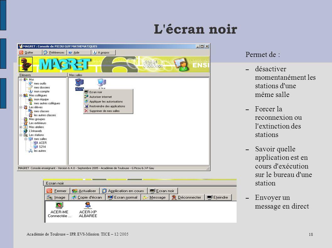 Académie de Toulouse – IPR EVS-Mission TICE – 12/2005 18 L'écran noir Permet de : – désactiver momentanément les stations d'une même salle – Forcer la