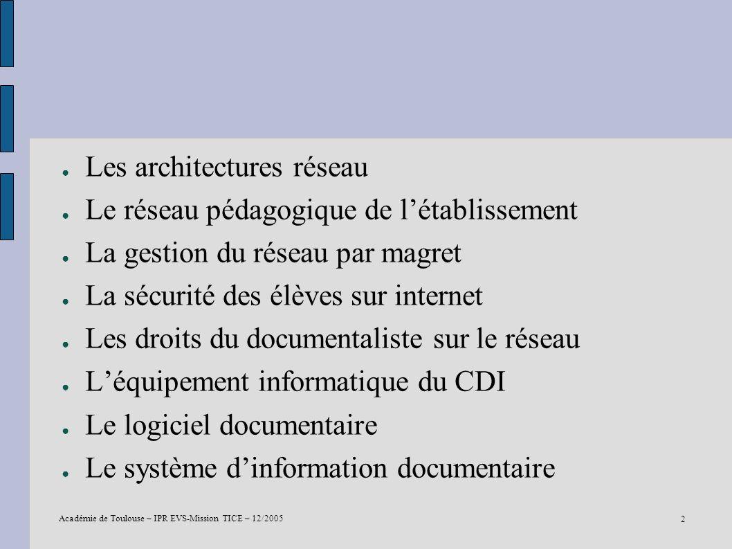 Académie de Toulouse – IPR EVS-Mission TICE – 12/2005 2 Les architectures réseau Le réseau pédagogique de létablissement La gestion du réseau par magr