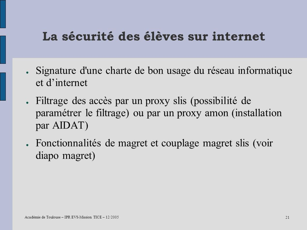 Académie de Toulouse – IPR EVS-Mission TICE – 12/2005 21 La sécurité des élèves sur internet Signature d'une charte de bon usage du réseau informatiqu