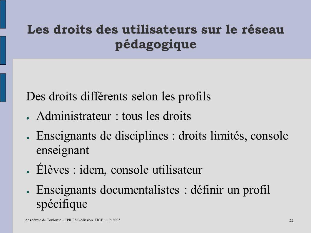 Académie de Toulouse – IPR EVS-Mission TICE – 12/2005 22 Les droits des utilisateurs sur le réseau pédagogique Des droits différents selon les profils