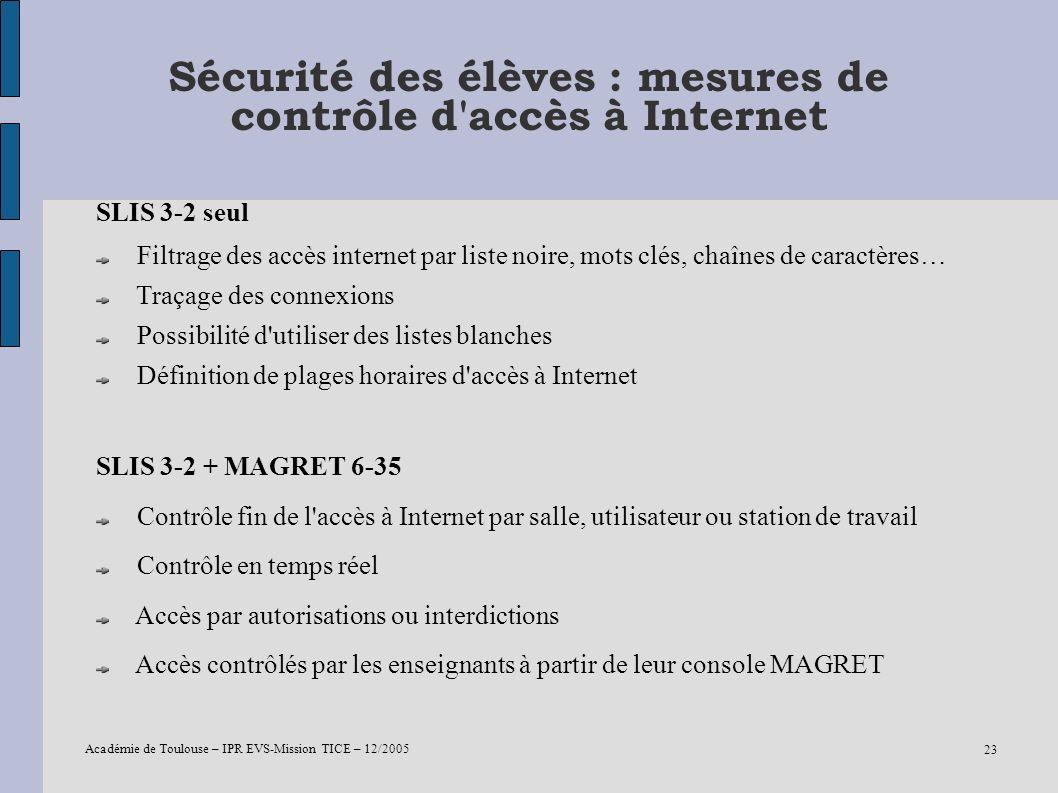 Académie de Toulouse – IPR EVS-Mission TICE – 12/2005 23 Sécurité des élèves : mesures de contrôle d'accès à Internet SLIS 3-2 seul Filtrage des accès