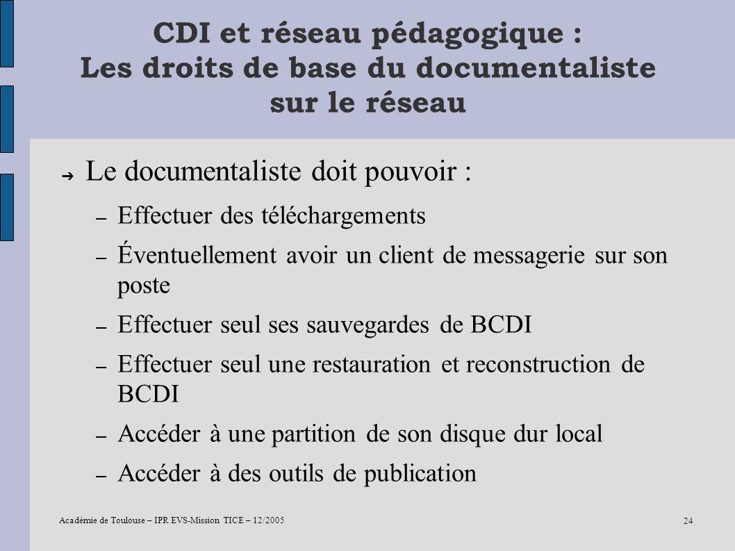 Académie de Toulouse – IPR EVS-Mission TICE – 12/2005 24 CDI et réseau pédagogique : Les droits de base du documentaliste sur le réseau Le documentali