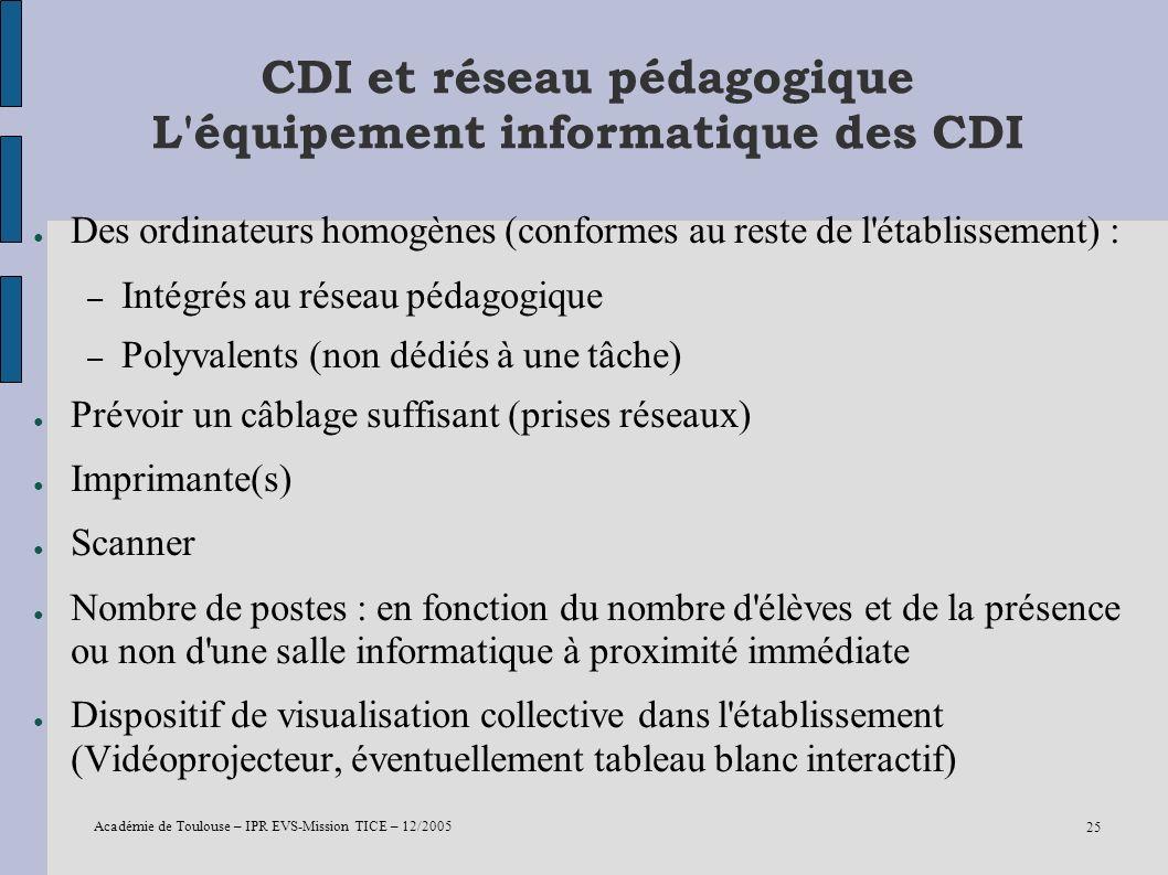 Académie de Toulouse – IPR EVS-Mission TICE – 12/2005 25 CDI et réseau pédagogique L'équipement informatique des CDI Des ordinateurs homogènes (confor