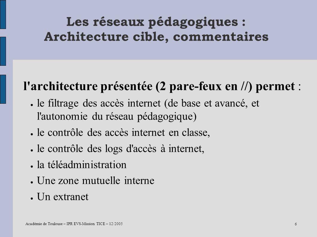 Académie de Toulouse – IPR EVS-Mission TICE – 12/2005 6 Les réseaux pédagogiques : Architecture cible, commentaires l'architecture présentée (2 pare-f