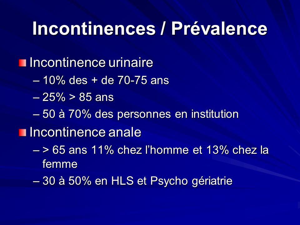 Incontinences / Prévalence Incontinence urinaire –10% des + de 70-75 ans –25% > 85 ans –50 à 70% des personnes en institution Incontinence anale –> 65