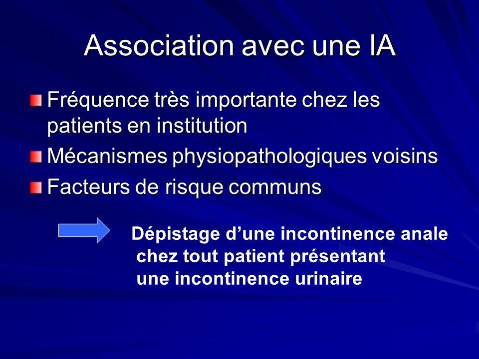 Association avec une IA Fréquence très importante chez les patients en institution Mécanismes physiopathologiques voisins Facteurs de risque communs D