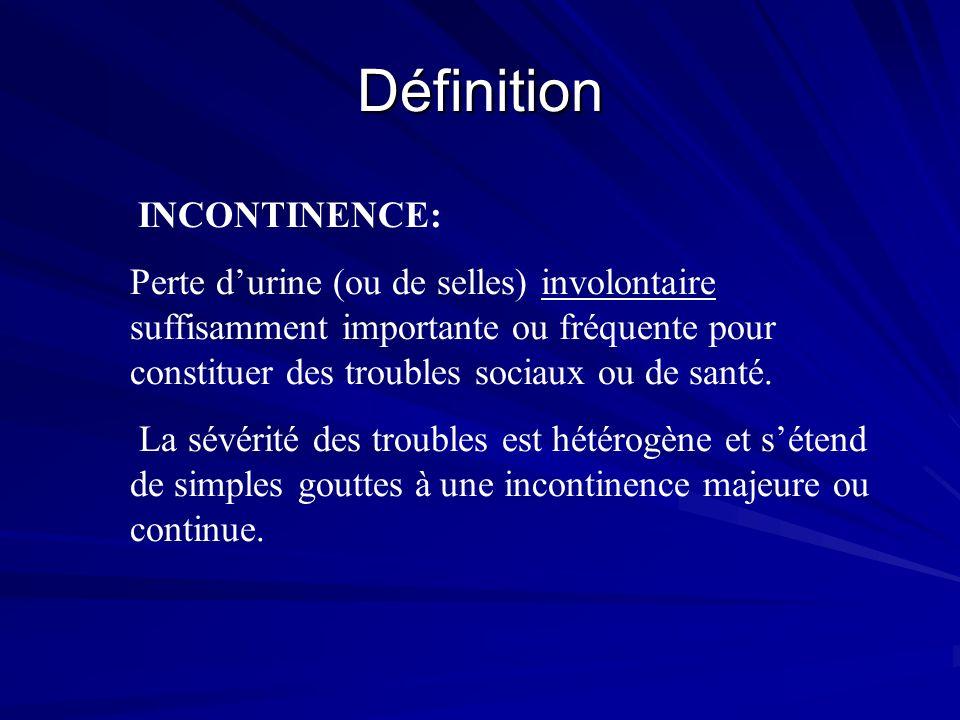 Définition INCONTINENCE: Perte durine (ou de selles) involontaire suffisamment importante ou fréquente pour constituer des troubles sociaux ou de sant