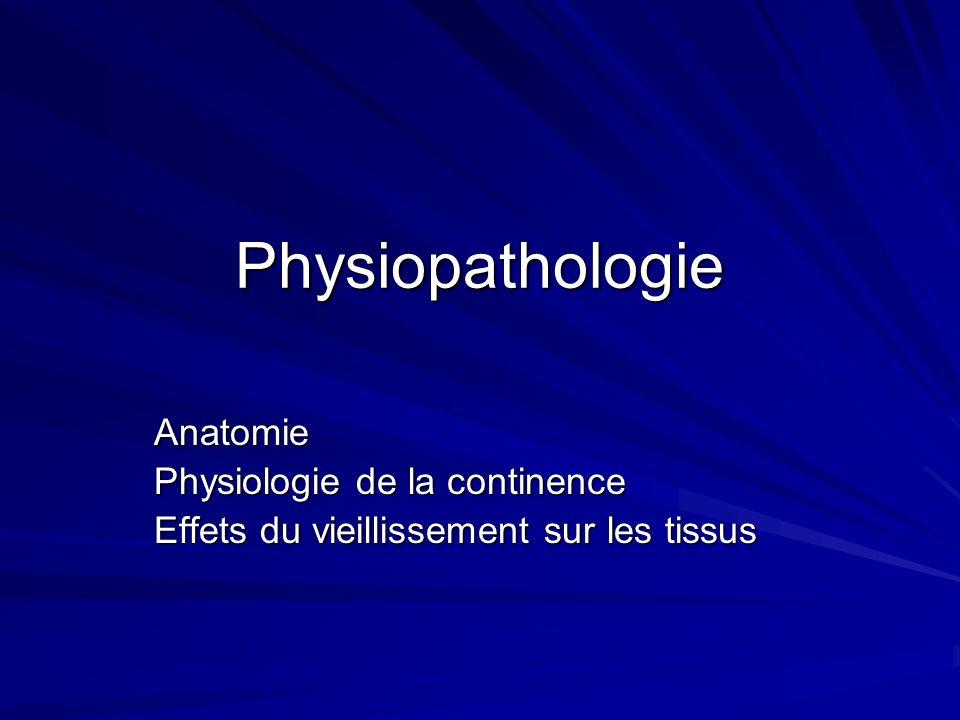 Physiopathologie Anatomie Physiologie de la continence Effets du vieillissement sur les tissus